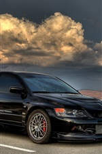 Preview iPhone wallpaper Mitsubishi Lancer black car, dusk