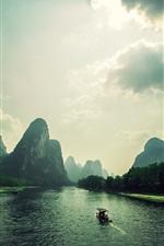Mountains, clouds, rocks, river, boat, Vietnam landscape