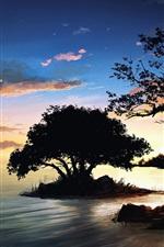미리보기 iPhone 배경 화면 자연 풍경 그림, 밤, 나무, 호수, 구름