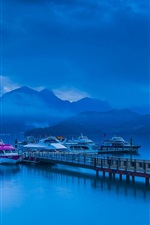 Night, blue style, mountains, lake, pier, boats, clouds