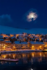 Night, city town, moon, mountains, snow, winter, house, lake, lights