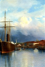 Preview iPhone wallpaper Painting, ship, boat, bay, water, mountains, sky, clouds