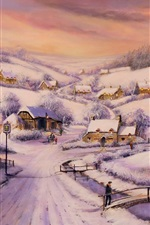 Preview iPhone wallpaper Painting, winter, snow, houses, road, trees, people