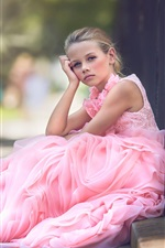 Preview iPhone wallpaper Pink dress cute girl thinking
