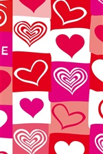 Preview iPhone wallpaper Red and purple love hearts, vector design