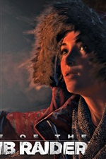 Preview iPhone wallpaper Rise of the Tomb Raider, Lara Croft, night, firelight