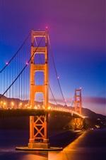 Preview iPhone wallpaper San Francisco, California, USA, Golden Gate Bridge, lights, night
