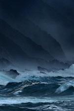 Preview iPhone wallpaper Sea, waves, storms, rocks, dark