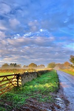 Preview iPhone wallpaper Sky, clouds, morning, road, fence, trees, grass
