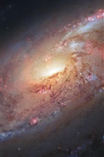 Preview iPhone wallpaper Space, spiral galaxy, M106, stars, Hubble space telescope, NASA