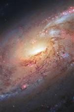 iPhone обои Космическая, спиральная галактика, М106, звезды, космический телескоп Хаббл, НАСА