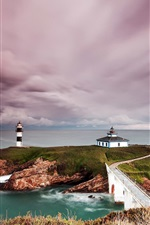 Preview iPhone wallpaper Spain, lighthouse, coast, island, sea, clouds, dusk