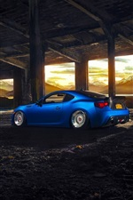 Subaru BRZ blue sport car rear view