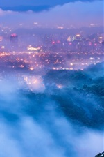 Preview iPhone wallpaper Taiwan, Taipei, city, evening, dusk, lights, mist, clouds