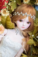 Preview iPhone wallpaper Toy girl, doll, flowers