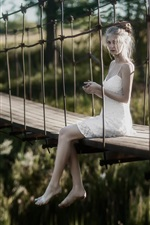 Preview iPhone wallpaper White dress girl, bridge