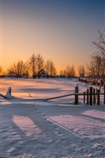Preview iPhone wallpaper Winter, fence, trees, house, sunset, snow