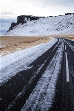 Preview iPhone wallpaper Winter, road, mountain