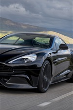 Preview iPhone wallpaper 2014 Aston Martin Vanquish carbon black car speed