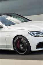 2014 Mercedes-Benz AMG C63 white car speed