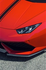 Preview iPhone wallpaper 2015 Lamborghini Huracan red supercar front view