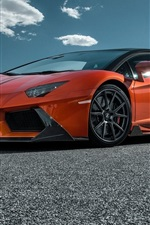 Preview iPhone wallpaper 2015 Lamborghini LP700-4 orange supercar side view