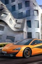 Preview iPhone wallpaper 2015 McLaren 570S Coupe, yellow color supercar