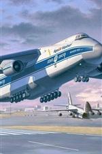 미리보기 iPhone 배경 화면 안토 노프 - 124-100 루슬란, 무거운 장거리 수송 항공기, 아트 드로잉