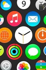 Relógio Apple, o menu iWatch, iOS ícones