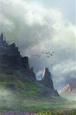 미리보기 iPhone 배경 화면 아트 그림, 풍경, 꽃, 산, 새, 구름