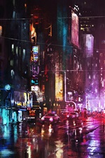 Preview iPhone wallpaper Art painting, night, city, street lights