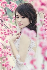 Preview iPhone wallpaper Asian girl, garden, spring, pink flowers