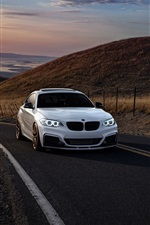 Preview iPhone wallpaper BMW M235i white car, road, hills