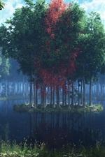 iPhone обои Красивая оказывать пейзаж, озеро, остров, деревья, лес