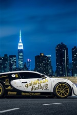 Preview iPhone wallpaper Bugatti Veyron supercar side view, New York, city, night, lights