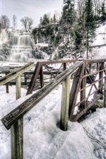 미리보기 iPhone 배경 화면 Chittenango 폭포 주립 공원, 뉴욕, 미국, 폭포, 겨울, 눈, 다리