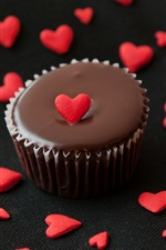 Preview iPhone wallpaper Chocolate cake, love hearts, food, muffins
