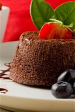 Preview iPhone wallpaper Dessert, cake, strawberries, blueberries, sweet food