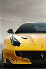 Preview iPhone wallpaper Ferrari F12 yellow supercar front view