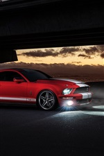 Ford Mustang Shelby GT500 red car at night