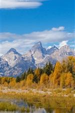 Preview iPhone wallpaper Grand Teton National Park, Wyoming, USA, mountains, river, trees, autumn