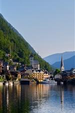 Hallstatt, Alps, lake, mountain, houses