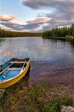 Preview iPhone wallpaper Hedmark Fylke, Norway, forest, river, boat, rocks, trees, clouds