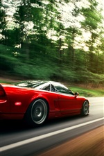 Preview iPhone wallpaper Honda NSX red car in motion