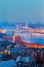 Preview iPhone wallpaper Hungary, Budapest, city, night, houses, river, bridge, lights