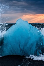 Preview iPhone wallpaper Iceland, ice, waves, splashes