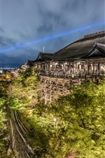 Preview iPhone wallpaper Kiyomizu-dera, Kyoto, Japan, night, temple, trees