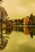 Preview iPhone wallpaper Lake, dusk, autumn, trees