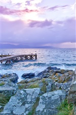 Preview iPhone wallpaper Lake, pier, rocks, dawn, sea