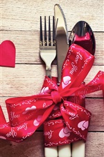 Preview iPhone wallpaper Love hearts, Valentines Day, ribbon